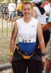 Rachel Hall (Age 30): Me as a triathlete – anxious, uncomfortable, putting on a brave face, grimacing not really smiling.