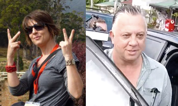 Side by side photo of woman giving the fingers up and a man about to get into his car